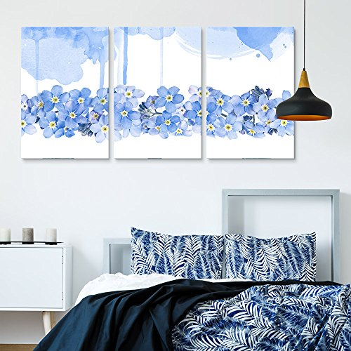 3 Panel Small Blue Flowers on White and Blue Watercolor Style Background x 3 Panels