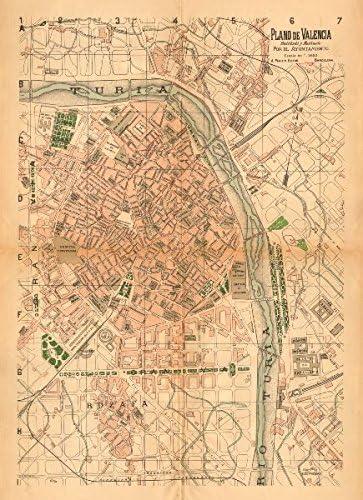 Valencia. Plano Antiguo de la cuidad. Antiguo Ciudad/ciudad Plan. Martin – C1911 – Old Antiguo Mapa Vintage – Mapas de Impreso de España: Amazon.es: Hogar