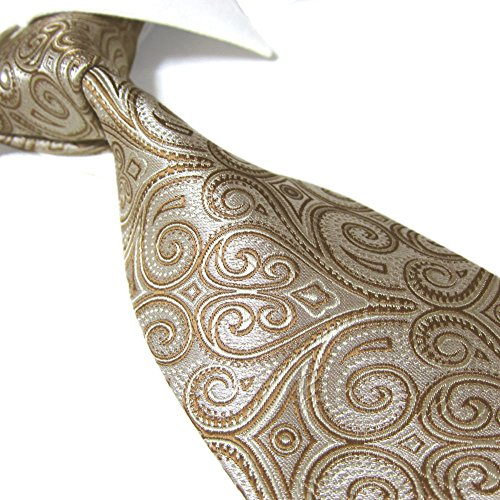 Extra Long Fashion Tie Paisley Men's Woven Jacquard Handmade Necktie (Gold) (Gold Paisley Extra Tie Long)