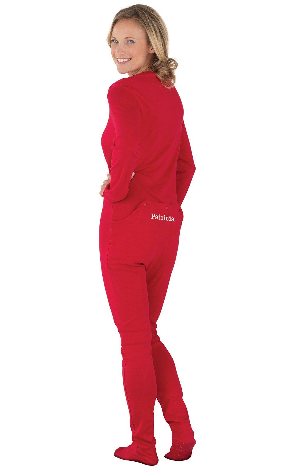 PajamaGram Personalized Women's Cotton Dropseat Footie Pajamas, Red, LRG (12-14)