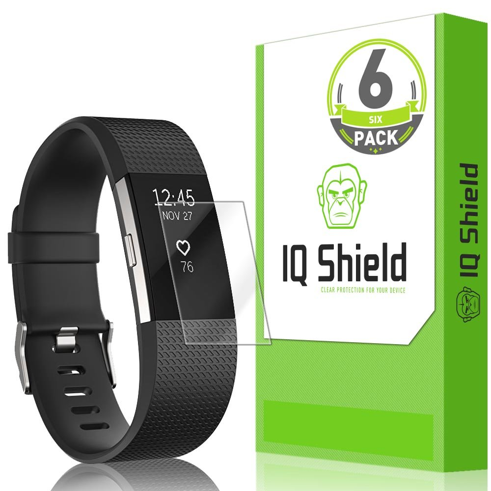 IQShield Fitbit Charge 2 Screen Protector (6-Pack), LiQuidSkin Full Coverage Screen Protector for Fitbit Charge 2 HD Clear Anti-Bubble Film