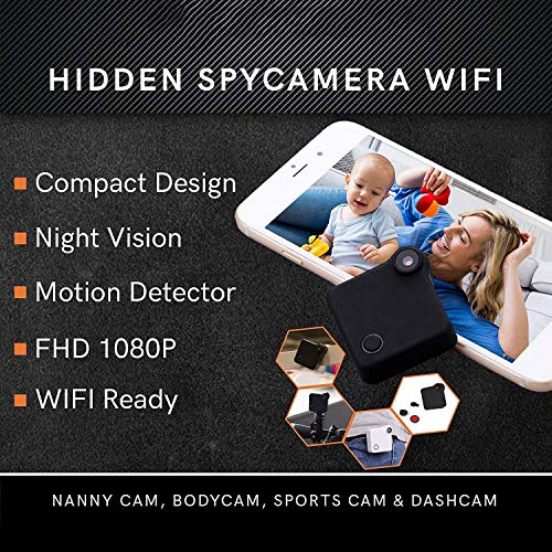 Amazon.com: CYGG HD Mini Hidden Wireless Spy Camera WiFi - Small Security System Cameras for Home, Office, Car & Drone with Motion Detection & Night Vision ...