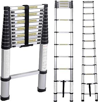 sogesfurniture 3.8M Escalera Telescópica de Aluminio, Escalera Plegable - Multi-propósito Extensible Escalera con 12 Escalones Antideslizantes, Capacidad de 100kg, KS-JF-001-BH: Amazon.es: Bricolaje y herramientas