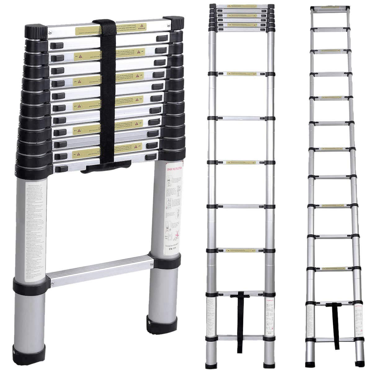 Soges 12.5ft Telescoping Extension Ladder,12 Steps Aluminum Extendable Telescopic Ladder with Spring Loaded Locking Mechanism Non-Slip Ribbing 330 Pound Capacity EN131 Certified, KS-JF-001