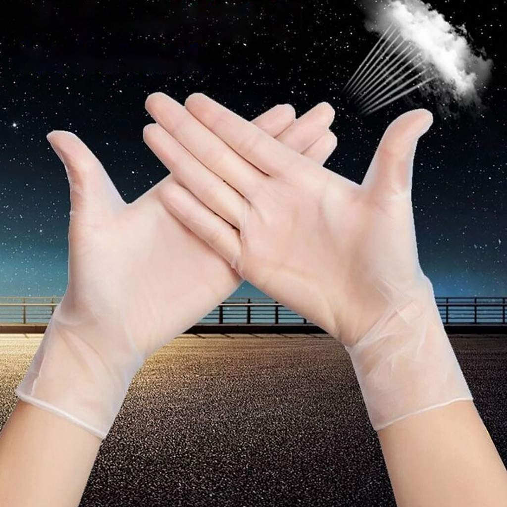 Disposable Clear Vinyl Transparent Gloves S//L//M Box of 100 Latex Free Non-Sterile Disposable 4 mil Powder Free S, White