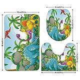 3 Piece Bathroom Mat Set,Jurassic Decor,Dinosaurs Living in the Jungle Illustration Palm Trees Lakeside Stones Fun,,Bath Mat,Bathroom Carpet Rug,Non-Slip