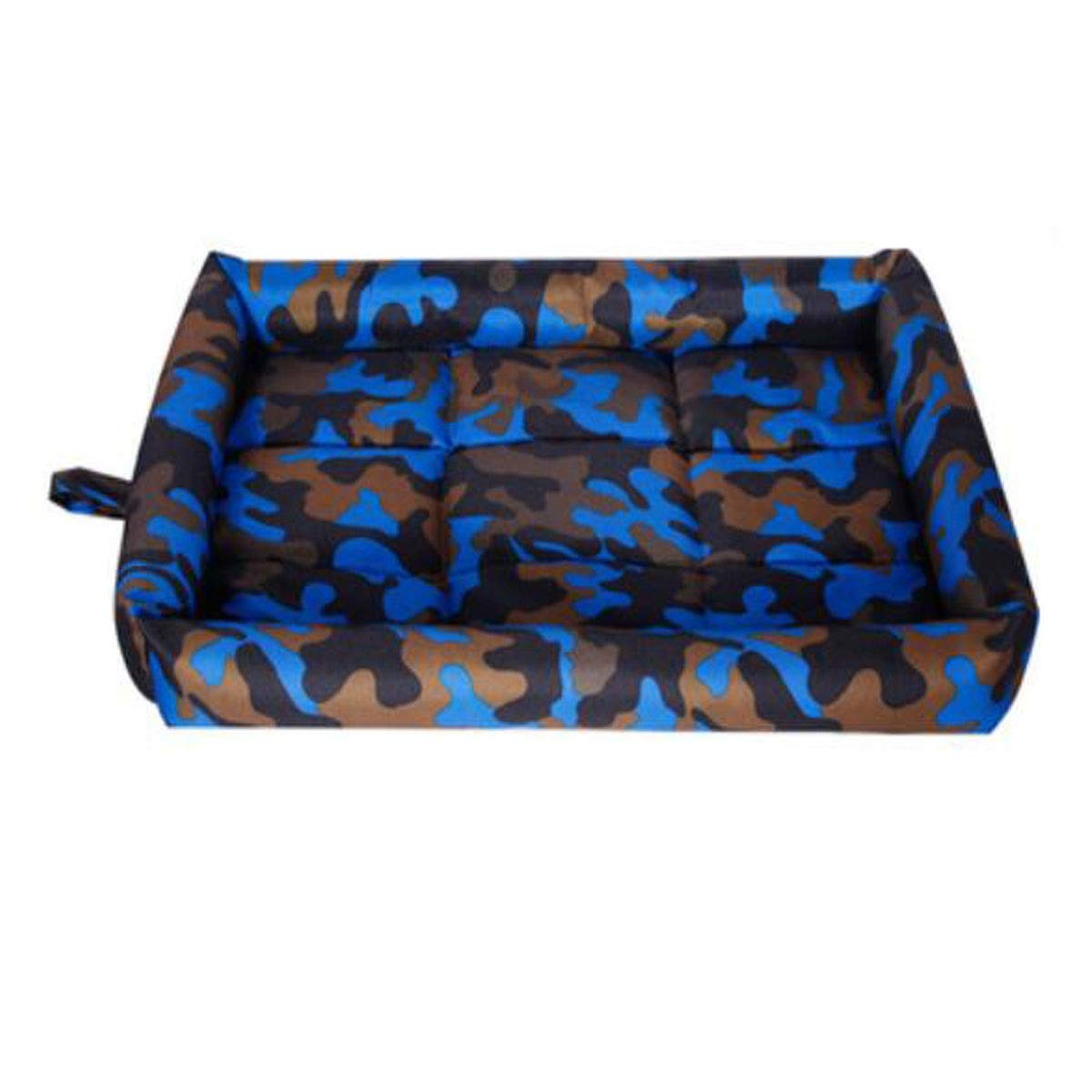 Camouflage bluee XL Dog Bed, Spring Large and Medium Dog Orthopedic Sleeping Bed, Can Be Placed On The Floor Car Dog Cage, Camouflage bluee, Camouflage orange, Camouflage Red XXL (color   Camouflage bluee, Size   XL)