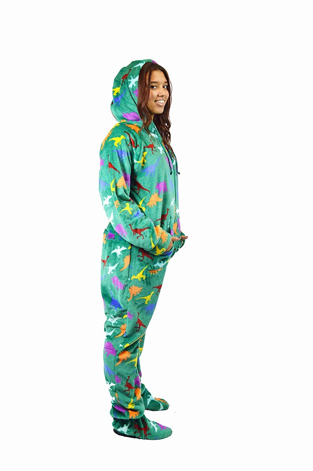 DINOTASTIC The Snooze Shack Ultra Plush Onesie Pajamas with Drop Seat Bottom and Feet