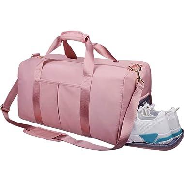 Gym Duffle Bag Dry Wet Separated Gym Bag Sport Duffle Bag Training Handbag Yoga Bag (Pink-Upgrade)