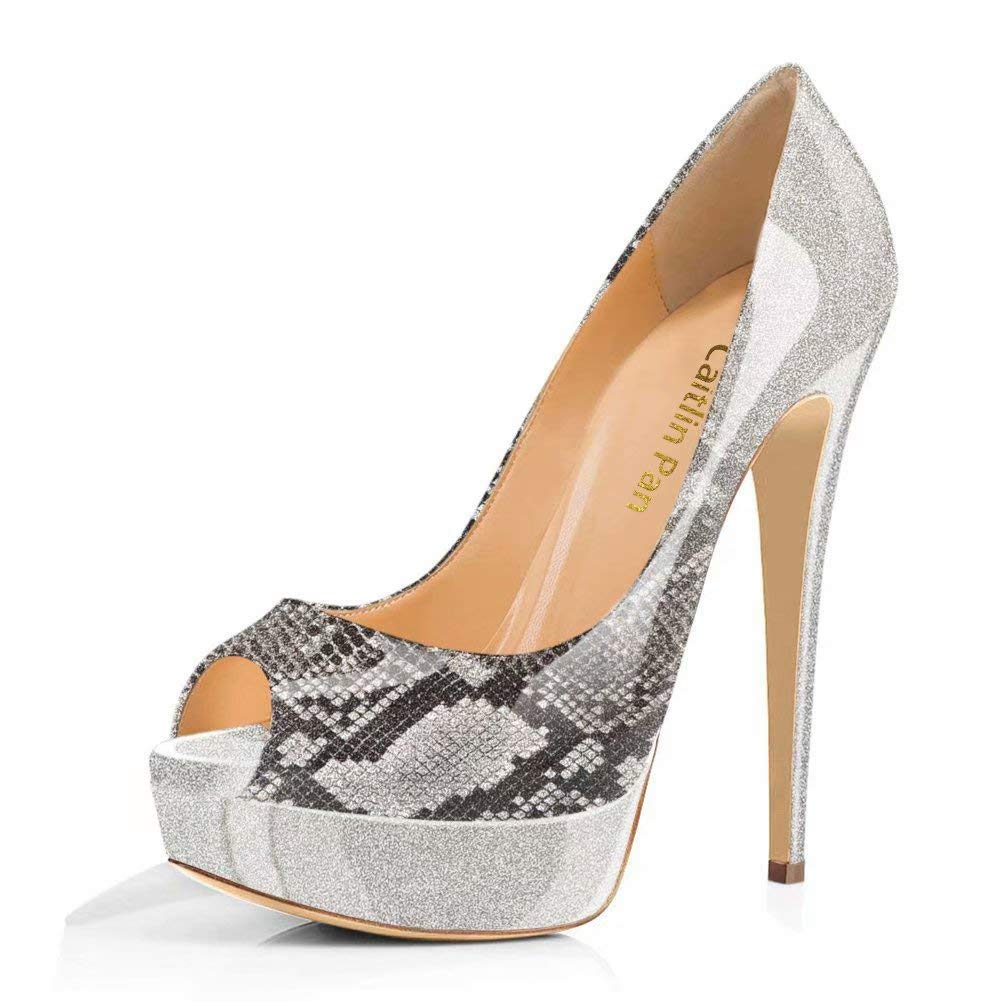 Caitlin Pan Femmes Plateforme Escarpins Fond Plateforme Toe 15CM Escarpins Peep Toe 3CM Plateforme Talon Chaussures Open Toe 35-45 Serpent Gris/ Fond Rouge 4c01e90 - conorscully.space