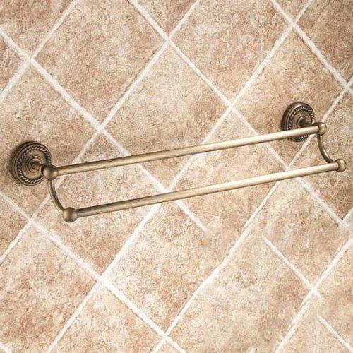 - Greenspring Vintage Style Wall Mount Lavatory Bath Shower Accessories 24-inch Brass Double Bars Towel Rack Bathroom Robe Hooks Towel Shelf Bar Holder Racks Antique Brass Finish