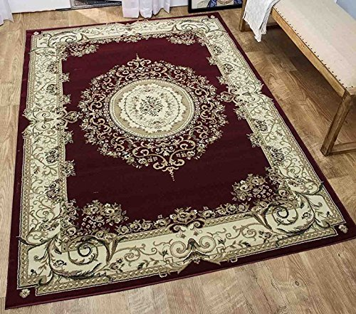 8x10 Dark Red Burgundy Ivory Beige Persian Oriental Traditional Vintage Floral Modern Contemporary Faux Antique Tabriz Living Room Bedroom Hand Knotted Hand-Woven Sale ( Tabriz 415 Burgundy )