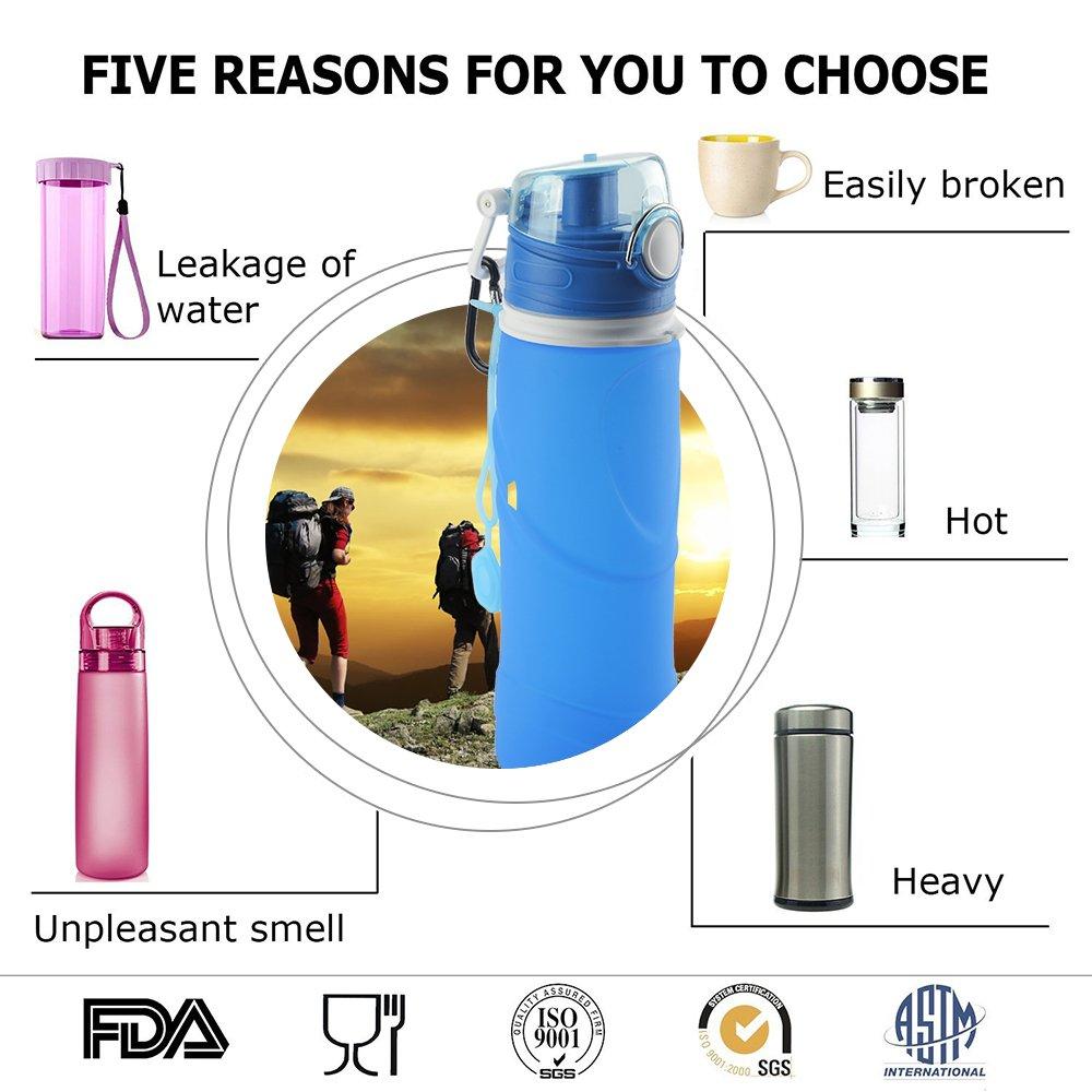 ieGeek Botella Plegable de Silicona de Alimentos para Deporte para Aire Libre, Azul: Amazon.es: Deportes y aire libre
