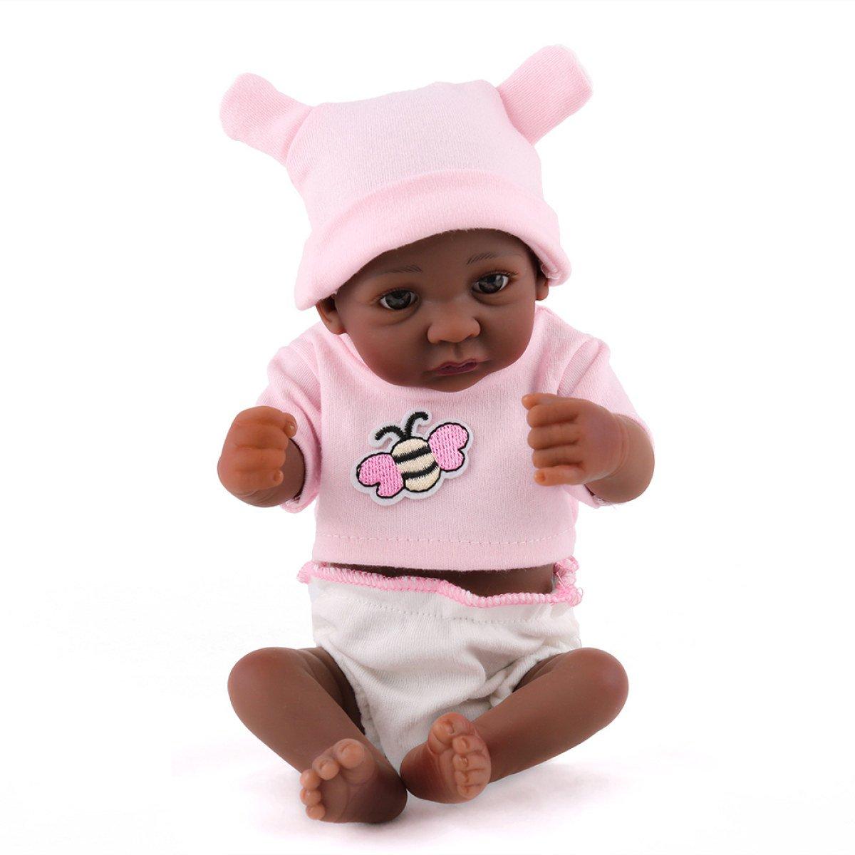 Reborn Baby Puppen Handgemachte Lebensechte Realistische Silikon Vinyl Schöne Schwarze Baby Puppe Weiche Simulation Augen öffnen Kinder Lieblingsgeschenk 11 Zoll