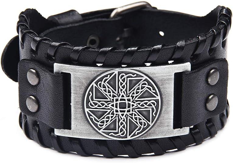 TURTLEDOVE Viking Bracelet Adjustable Bangle - Mens Leather Bracelet Handmade with Nordic Amulet - Celtic Pagan Jewelry of Talisman