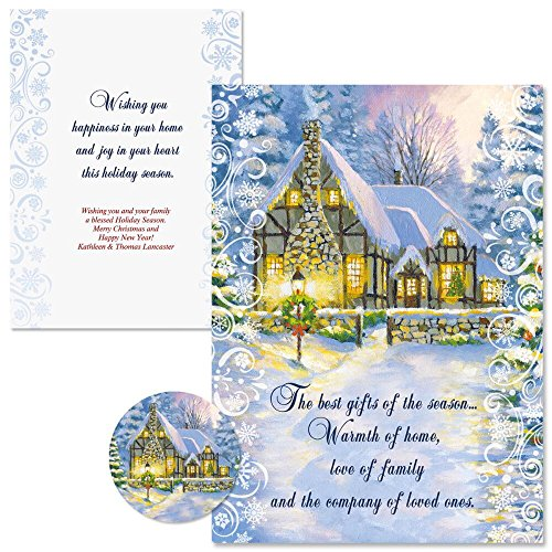 Snowy Cottage Personalized Christmas Cards with Free Matching Seals (Set of 24)