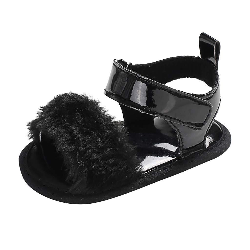 Yalasga Infant Newborn Baby Girls Pure Color Prewalker Soft Sole Single Shoes Sandals 2019 Toddler Shoe (Black, 0~6 M)
