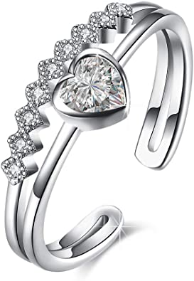 Elegant 925 Sterling Silver Filled SF Heart CZ Ring Size 7//8 R-A381 Woman Gift