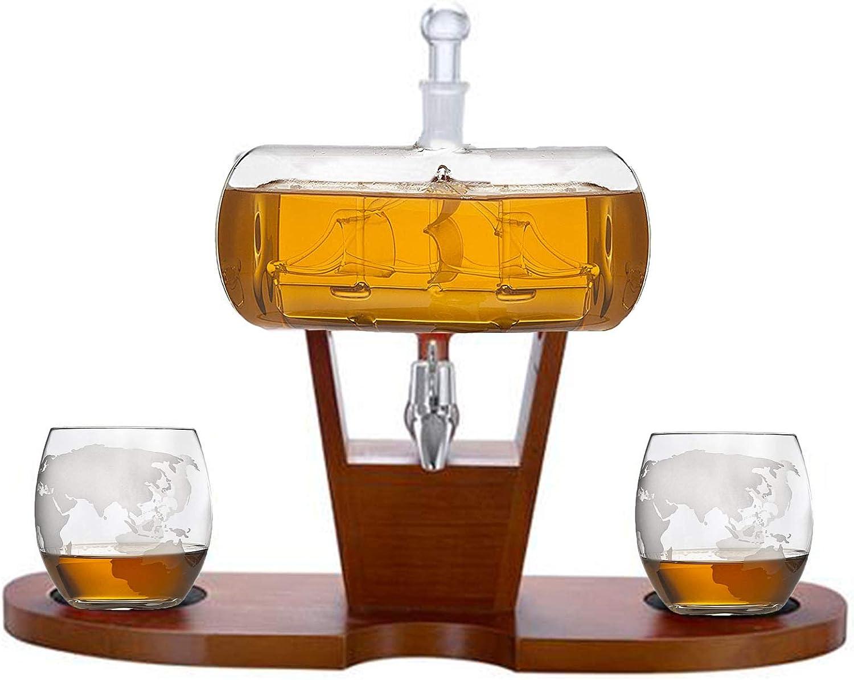 FengJ Decantador de Whisky con Barco Antiguo, decantador con 2 Gafas de Globo, dispensador de Bebidas para Vino, decantador de licores, escocés, Ron y Licor o espíritus 1000ml
