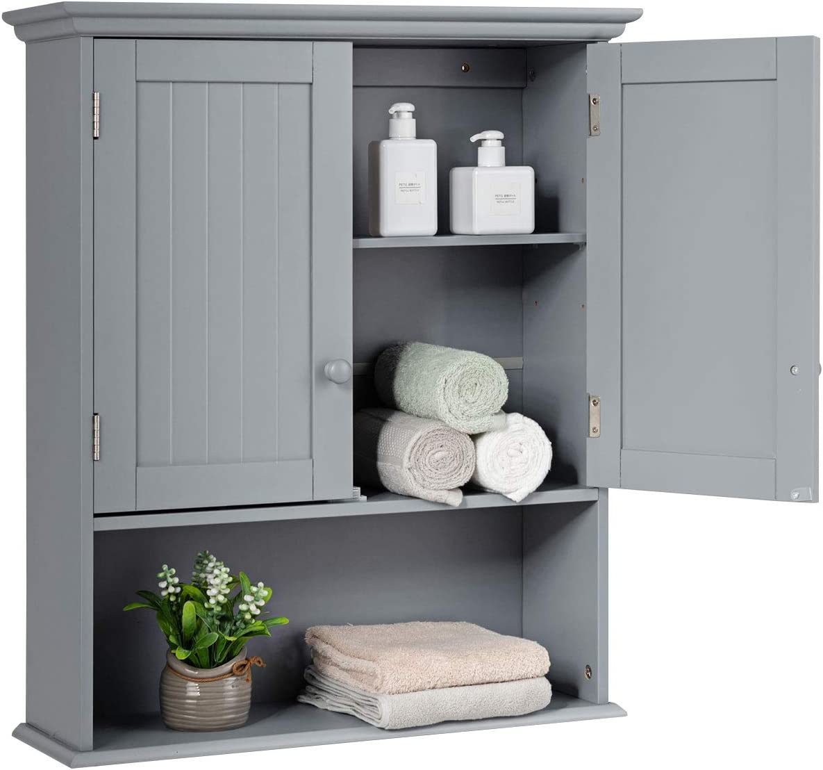 Tangkula Wall Mount Bathroom Cabinet Wooden Medicine Cabinet Storage Organizer With 2 Doors And 1 Shelf Cottage Collection Wall Cabinet Grey Kitchen Dining