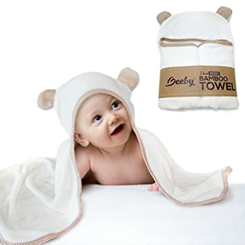 Premium Bamboo Hooded Baby Bath Towel Baby Bathrobe with Washcloth for  Infant e0a462824