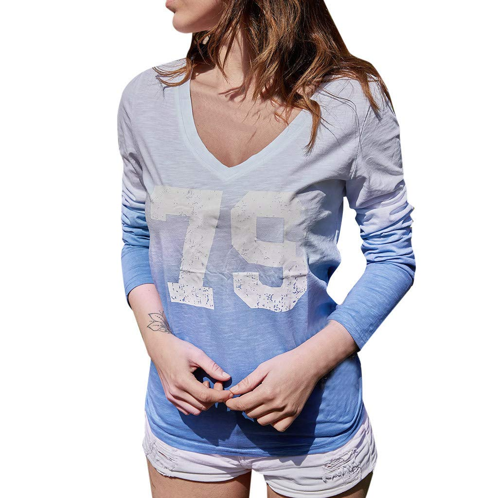 LONGDAY Women T-Shirt Casual Loose Long Sleeve Sweatshirt Tops Blouse Summer Tunic V-Neck Gradient Shirt Print Pullover Blue