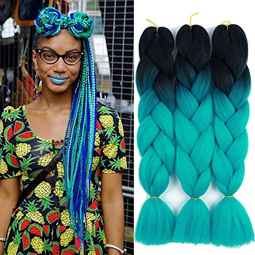 Ombre Color Synthetic Hair 3 packs Jumbo Braiding Hair Extension 24Inch 100gram Synthetic Two Tone High Temperature Crochet Braids (black and blue)