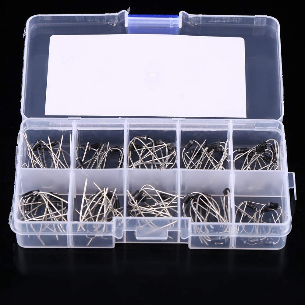 Wifehelper 10 Values 100Pcs Rectifier Diode Assortment Electronic Kit With Storage Box 1N4001~1N4007 1N5817~1N5819 for Professionals Enthusiasts