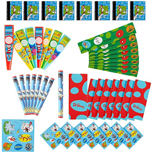 Amscan Dr. Seuss Party Favor Pack, Includes Kazoos, Sticker Sheets, Bookmarks and More, 48 Pieces -