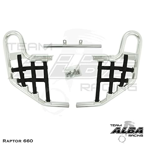 RAPTOR 660 2001-2005 Tusk Comp Series Nerf Bars Silver With Black Webbing