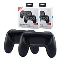 Joycon Grip Handle for Nintendo Switch Joy Con Controller, Lammcou Ergonomic Switch Controller Hand Grips Holder Protector Case Cover for Nintendo Switch Console Accessories Kits for 1-2 Switch Games Super Mario Odyssey/ Splatoon 2 - 2 Pack Black