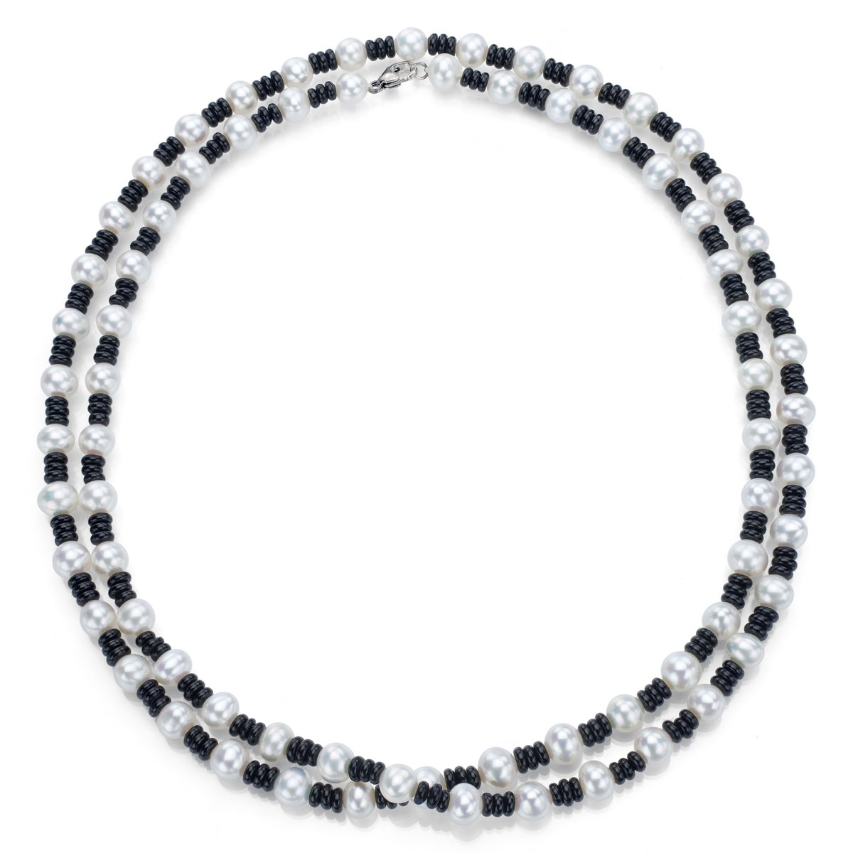 Sterling Silver 7-7.5mm White Freshwater Cultured Pearls and 4mm Simulated Black Onyx Necklace, 36''