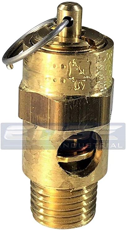 New 1//4 ASME Brass Safety relief Valve 175 PSI American made Compressed air pop off valve