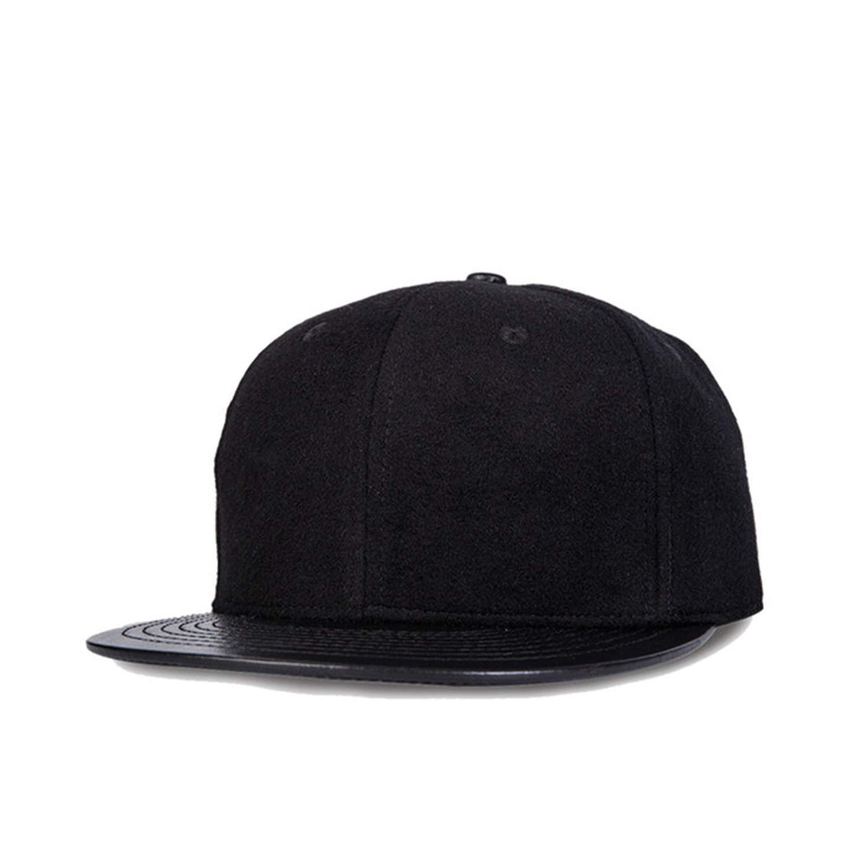 Wuke 2019 Black PU Leather Baseball Cap Flat Caps Snapback Hip Hop Hat for Men and Women Eric Carl