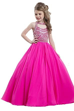 a9e6df73794e Wenli Juniors Beaded Long Party Dresses Girls Glitz Pageant Gowns 2 US Hot  Pink