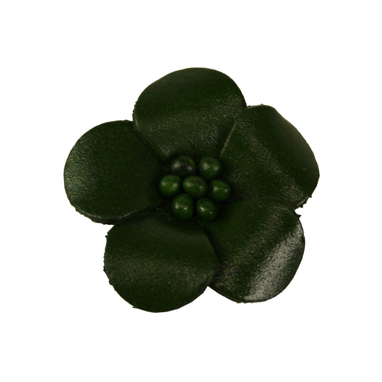 Veilchen mit Perlen Anstecker aus Leder grün - Durchmesser: ca 4 cm