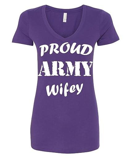7b1254e0 Proud Army Wifey Women's V-Neck T-Shirt Wife Husband Duty Military Soldier  Hero