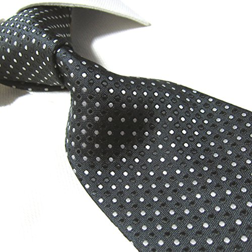 Extra Long Fashion Tie Black/Dots Men's Woven Jacquard Handmade Necktie
