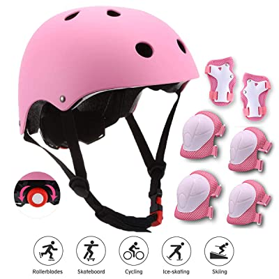 Adjustable Kids Skateboard Helmet, Bike Helmet Knee Elbow Pads Wrist Pads 7 in 1 Protective Sports Gear Set Suitable for Ages 3-8 Years Roller Skating Scooter Cycling Toddler Boys Girls (Pink) : Sports & Outdoors