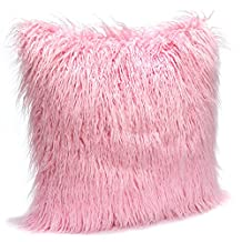 MHJY Fluffy Pillow Case Cover Mongolian Faux Fur Pillow Case Super Soft Plush Cushion Cover Home Decor Deluxe Bed Decorative Throw Pillow Cushion Case