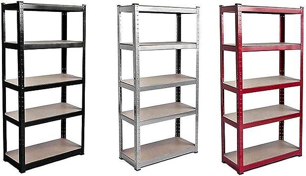 1.5m Tall Heavy Duty Metal Shelving Unit 5 Tier Boltless Industrial Shelves Storage 150cm x 70cm x 30cm Black