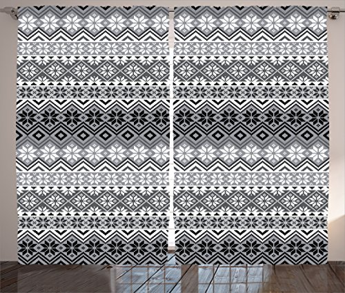 Ambesonne Grey Decor Curtains, Nordic Snowflake Knit Patterns Scandinavian Traditional Modern Print Home Deco, Living Room Bedroom Decor, 2 Panel Set, 108 W X 90 L Inches, Gray White Black 61pcEVXJKFL