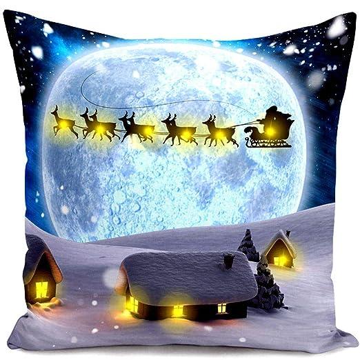 GZQ Funda de Cojín para Navidad, Funda de Cojín con luz LED de Navidad, 45 * 45 cm Funda para Adorno del Casa, Oficina, Coche,Diseno Elk, Santa, Amor ...