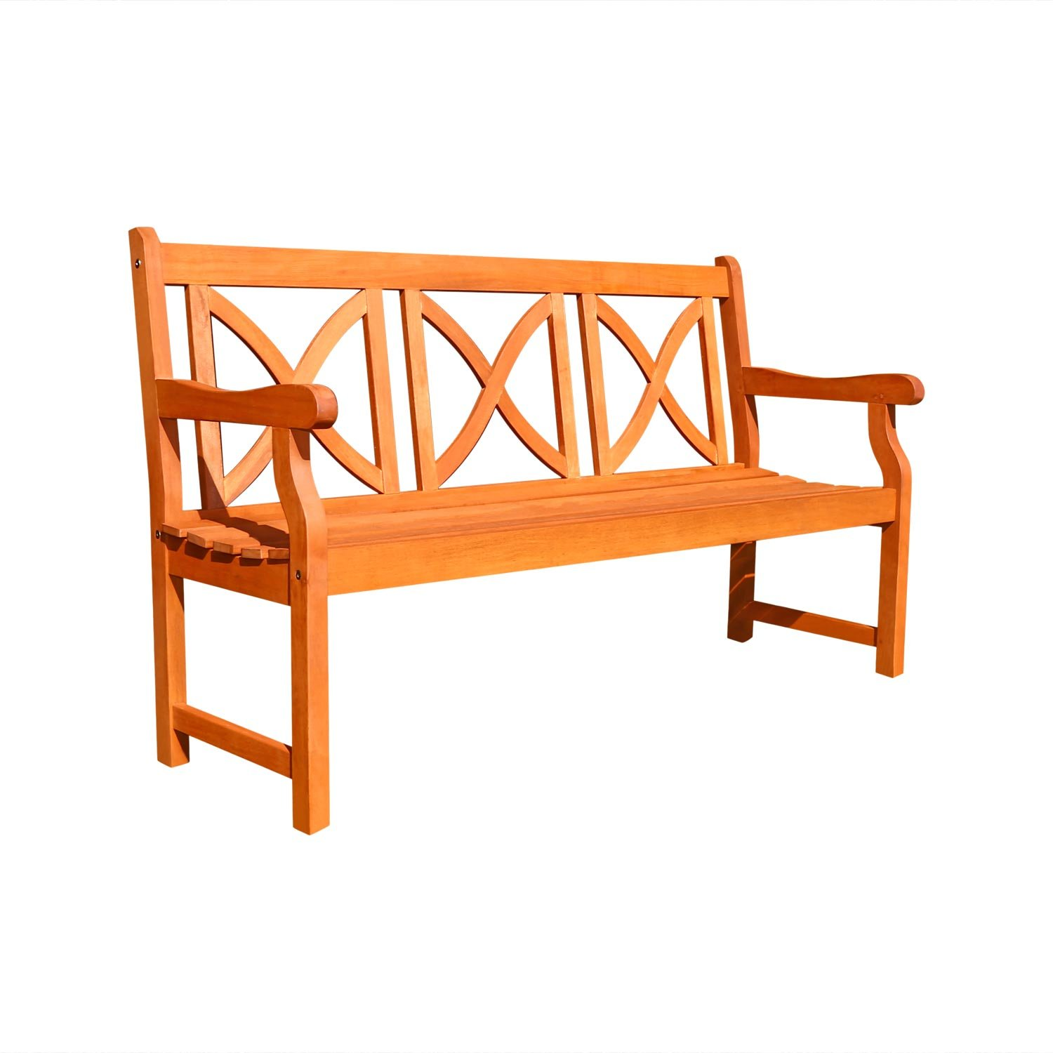 vifah v100 outdoor wood bench x back design natural wood finish 66 by