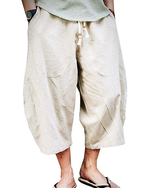 b9c22be4 Saoye Fashion Pantalones Capri para Hombres Pantalones Hippies ...