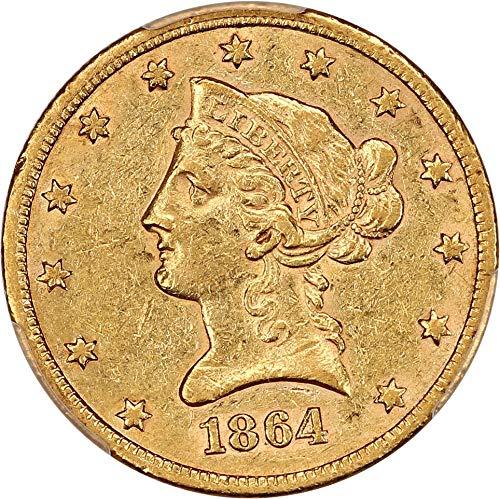 1864 S $10 Liberty Gold Ten Dollar AU53 PCGS ()