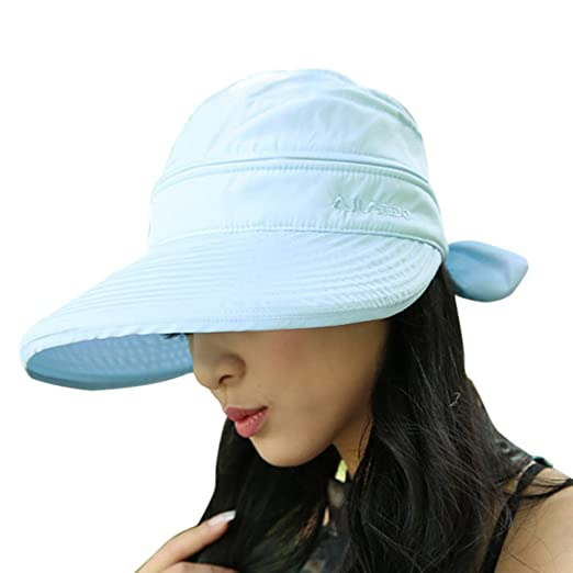 Womens 2in1 Wide Brim Summer Folding Anti-UV Golf Tennis Sun Visor Cap  Beach Hat 4726dd7d23c
