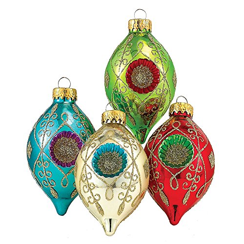 Kurt Adler Glass Reflector Teardrop Ornament, 3.5-Inch, Set of 4