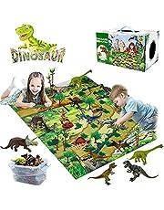 YUNKE Dinosaurusspeelgoedset, dinosaurusfiguur met speelmat en bomen, realistische dinosaurusspeelset voor jongens, creëer een dinosauruswereld inclusief T-Rex voor kinderen