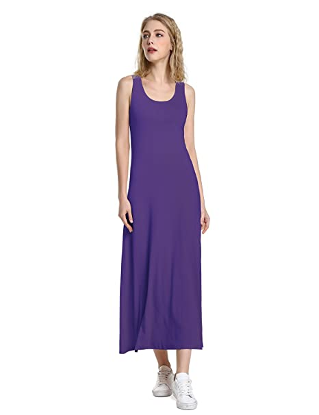 787846c06e8dca ZAN.STYLE Women s Casual Scoop Neck Sleeveless Tank Top Long Maxi Dress  Purple Medium at Amazon Women s Clothing store